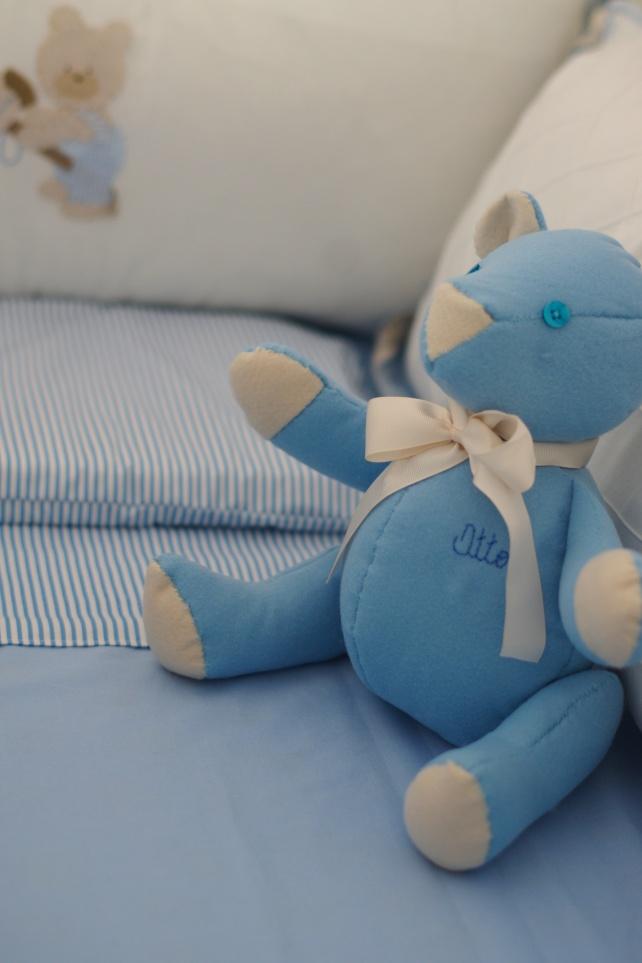 Jogo de cama azul e ursinho azul Otto